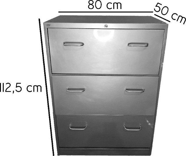 Armário Arquivo com 3 gavetas em aço cinza - Foto 5