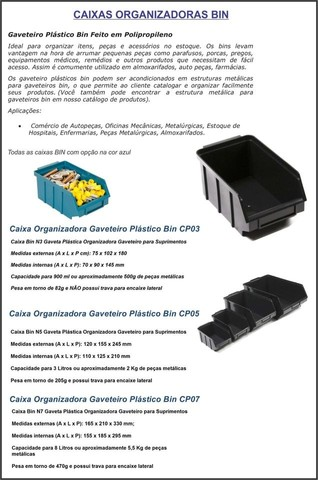 Caixas plastica BIN5 Gaveteiro-modelo 5 - Foto 2