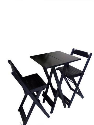Jogo De Mesa Quadrada Com 2 Cadeiras Bistrô Dobráveis Madeira - Foto 3