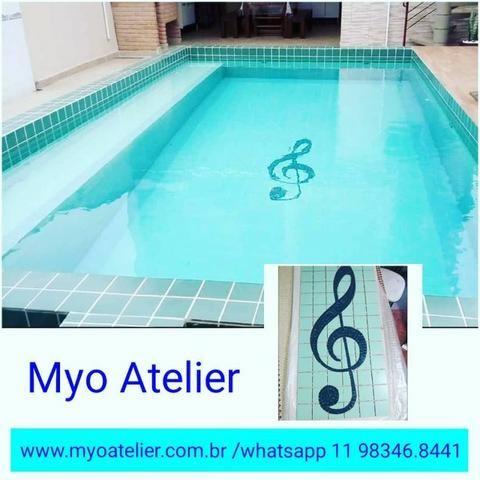 Golfinho para piscina, mosaico piscina, fundo de piscina, desenho piscina, adesivo piscina - Foto 2