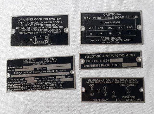 Plaquetas para Dodge originais