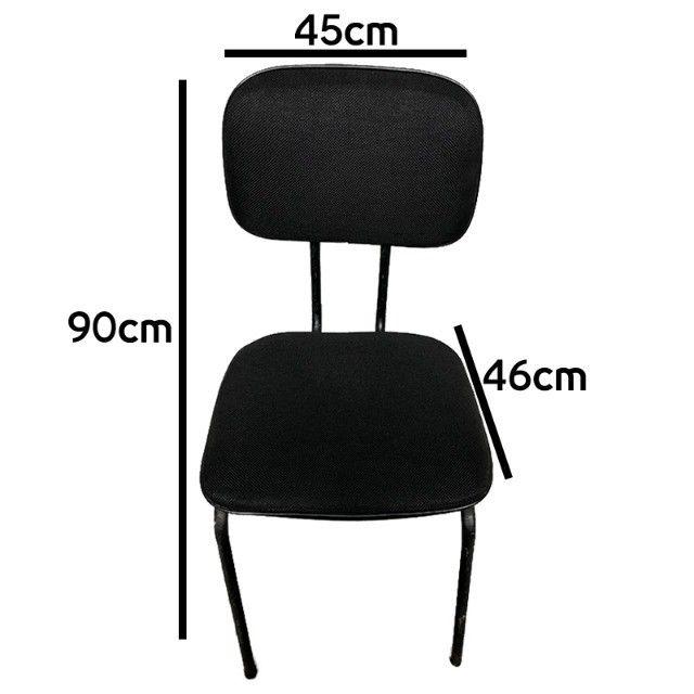 Cadeira fixa para escritório sala de espera em tecido preto - Foto 4