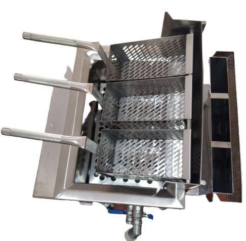 Fritadeira quadrada com cestos Loja do Pasteleiro para salgados e porções * Peça Única