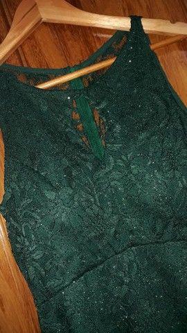Vestido longo verde escuro