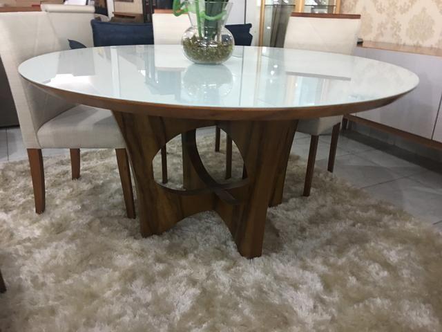 Mesa redonda pintura super laka branca luxo