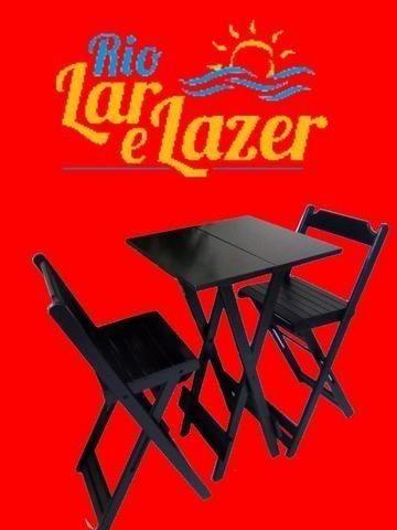 Jogo De Mesa Quadrada Com 2 Cadeiras Bistrô Dobráveis Madeira