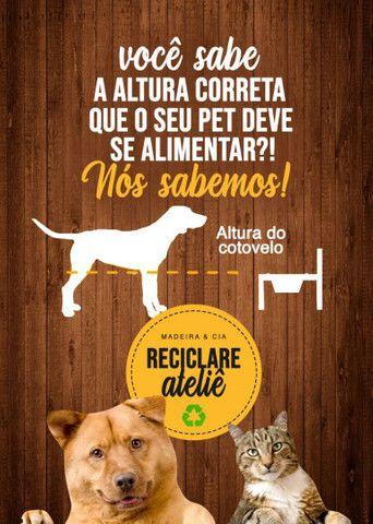 Comedouro em madeira para cães e gatos! - Foto 5