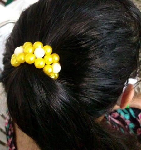 Xuxinha de cabelo com pérolas - Foto 4