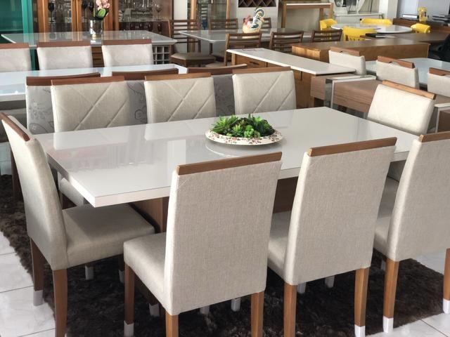 Mesa prazeres retangular nova!! Com 8 cadeiras madeira