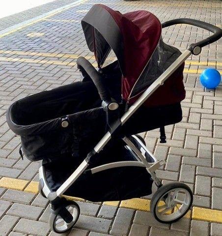 Carrinho de Bebê Dzieco Maly com bebê conforto e suporte para carro