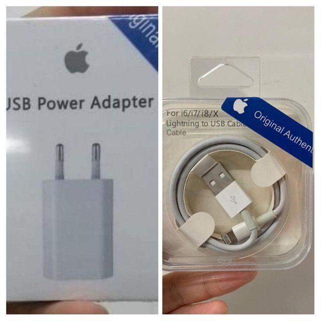 Fonte +Cabo iPhone Usb Carregador Dado 1m - 5 5s 6 6s 7 8 Plus