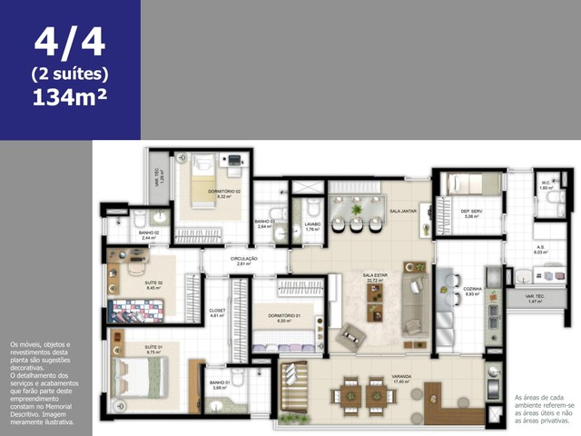 Apartamento a venda com 4 suítes com 180m² em Ludco Greenville - Foto 15