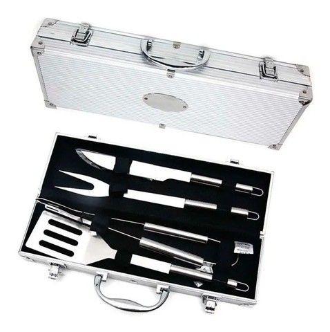 Kit churrasco com 4 peças em aço inox + maleta de alumínio - Foto 3