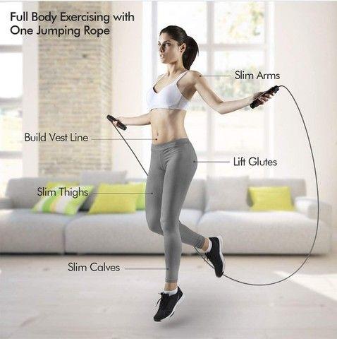 Corda De Pular Crossfit Speed Rope Com Rolamento Ajustável Exercício Funcional Academia - Foto 5