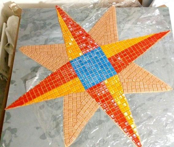 Cavalo marinho, flor de lis, tartaruga, estrela, mandala, mosaico artistico - Foto 5