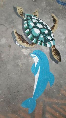 Cavalo marinho, flor de lis, tartaruga, estrela, mandala, mosaico artistico - Foto 6