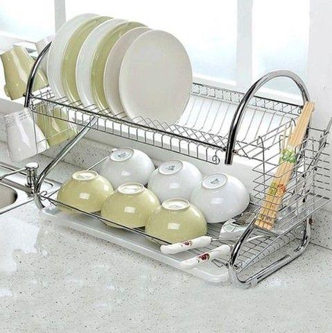 Escorredor de louças para 14 pratos e 6 copos E talheres + brinde - Foto 6