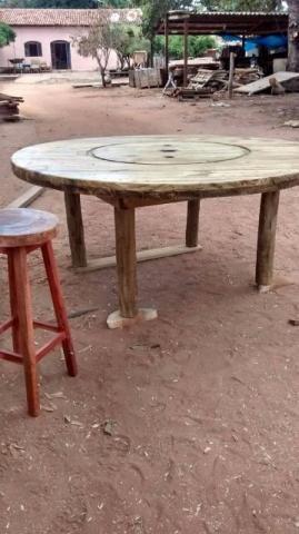 Bobina e Tampo de bobina para mesa rústica - Foto 3