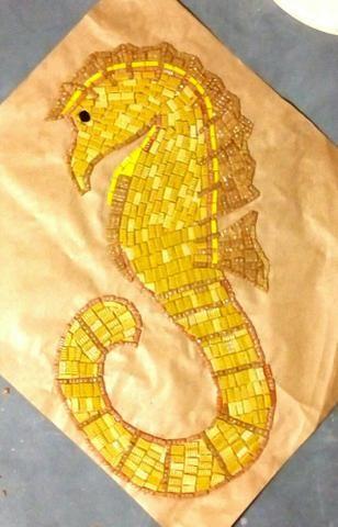 Cavalo marinho, flor de lis, tartaruga, estrela, mandala, mosaico artistico