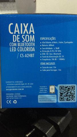 Caixa de som com bluetooth usb rádio com led colorida - Foto 2
