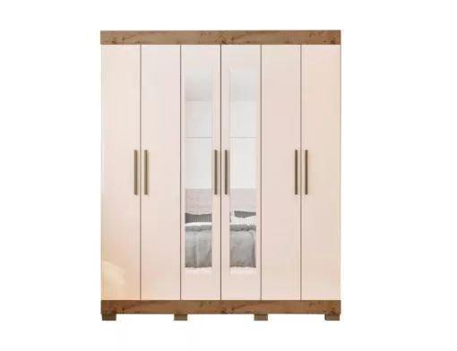 Guarda roupa 2062 6 portas com espelho 2 gavetas P628