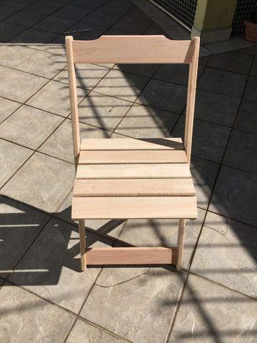 Conjunto Dobrável - mesa e cadeiras - sem pintura - Foto 5
