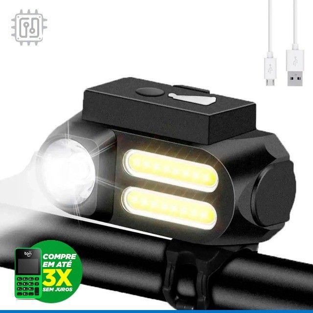 Lanterna Farol para Bicicleta Dianteira Led Bike Lamp Recarregável por USB - 4 Modos