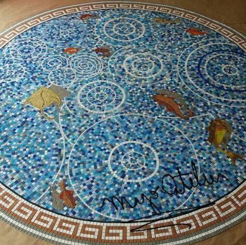 Piso, mandala, mosaico, peixe, flor de lis