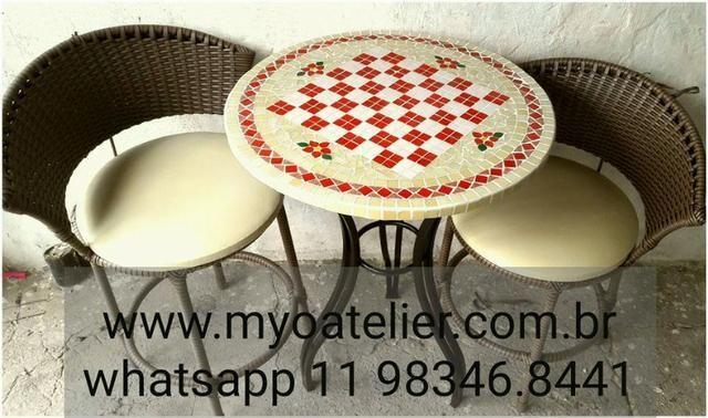 Conjunto Mesa Bistro mosaico - Foto 6