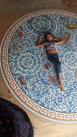 Piso, mandala, mosaico, peixe, flor de lis - Foto 5