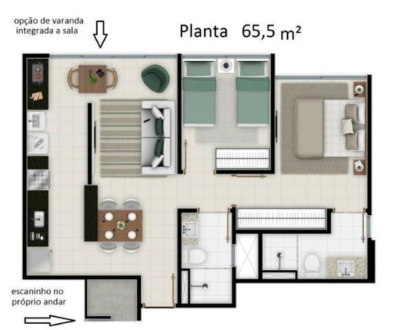 Apartamento 2 Qtos com suite no Terra Mundi Jd América só 239 Mil Nascente andar alto - Foto 16