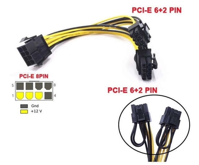 Cabo Adaptador Pci-e 8 Pin - Duplo 8(6+2)pin (rig Mineração)