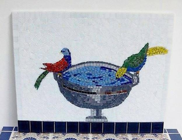Quadro, flores, passaro, são Paulo, mosaico - Foto 2