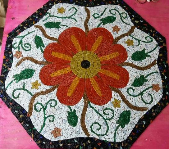 Piso, mandala, mosaico, peixe, flor de lis - Foto 6