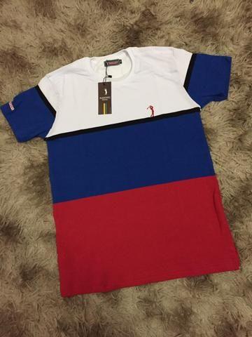 Camisetas Listradas Algodão Report com Elastano