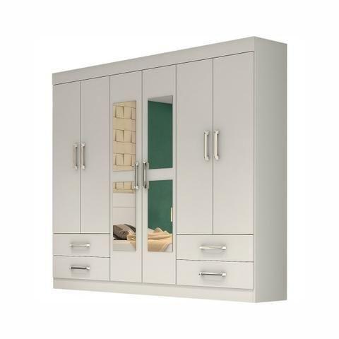 Guarda roupas + espelho - 6 portas pague na entrega direto do fabricante peça já