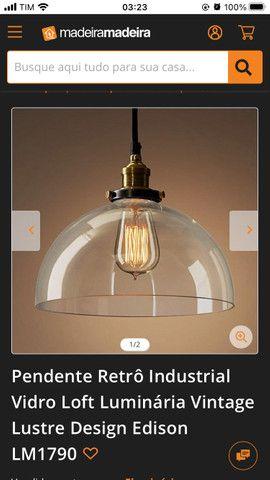 Pendente vintage/retrô com lâmpada de filamento - Foto 5
