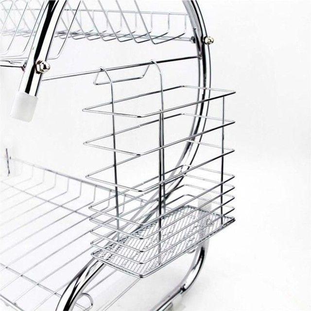 Escorredor de louças para 14 pratos e 6 copos E talheres + brinde - Foto 3
