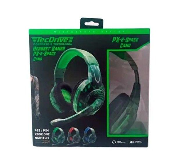 Fone De Ouvido Headset Gamer Tecdrive Px-2 Verde Com Azul