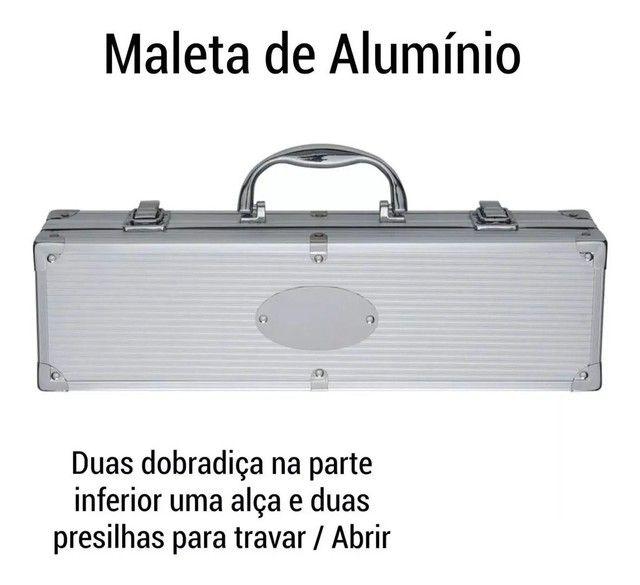 Kit churrasco com 4 peças em aço inox + maleta de alumínio - Foto 2