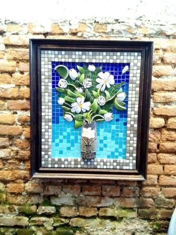 Quadro, flores, passaro, são Paulo, mosaico - Foto 4