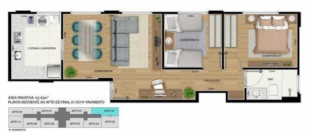 Apartamento 2 qts 50m2 * com desconto na entrada - Foto 2