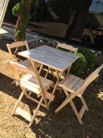 Conjunto Dobrável - mesa e cadeiras - sem pintura - Foto 6
