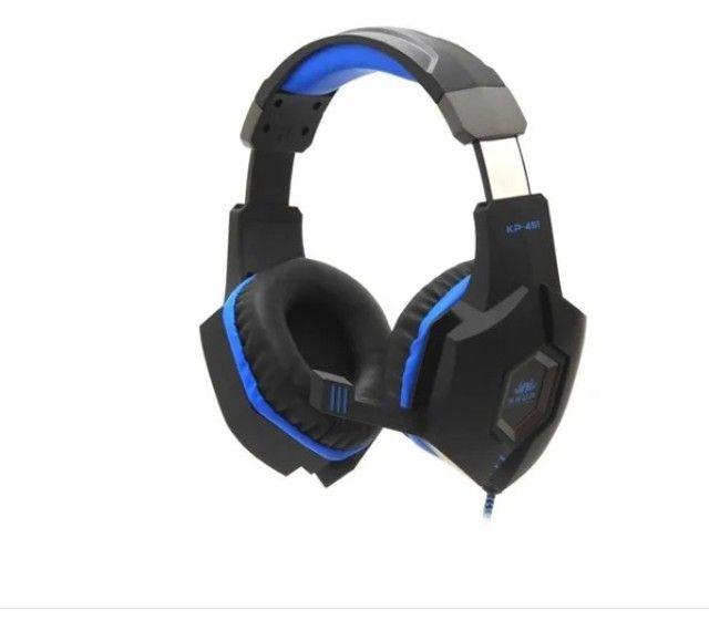 Fone De Ouvido Knup Headset Gamer Preto C/ Azul Pc/p4/x-one - Foto 4