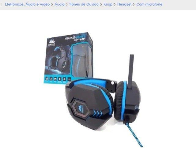 Fone De Ouvido Knup Headset Gamer Preto C/ Azul Pc/p4/x-one - Foto 2