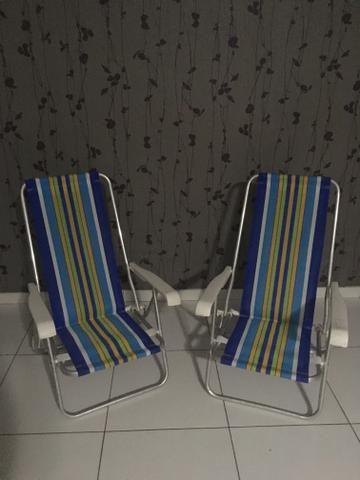2 Cadeiras de praia em alumínio