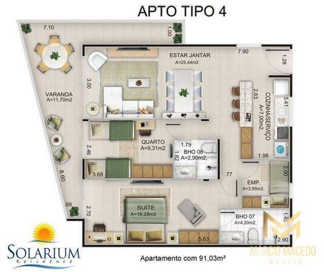 Apartamento com 3 quartos à venda por R$ 460.000 - Porto das Dunas - Aquiraz/CE - Foto 11