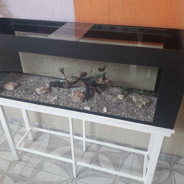 SUPER AQUÁRIO  COMPLETO 300 LT com suporte e decoração.  - Foto 3