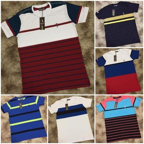 Camisetas Listradas Algodão Report com Elastano - Foto 6