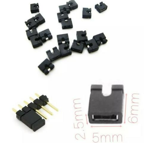 COD-CP243 Kit 10 Unid  Mini Jumper Preto 2 54 Arduino Cnc Shield - 10 Peças  Arduino Aut